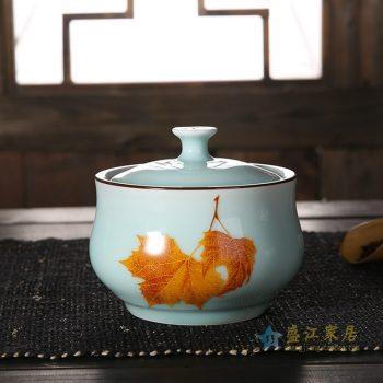 CBAD08-D-B   龙泉青瓷茶叶罐 釉中彩枫叶烤花茶仓 中号陶瓷普洱茶罐 天青
