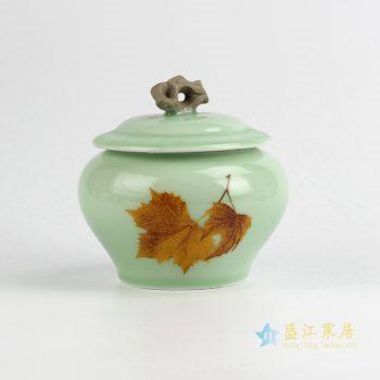 CBAD08-a  龙泉青瓷茶叶罐 釉中彩枫叶烤花茶仓 中号陶瓷普洱茶罐 梅子青