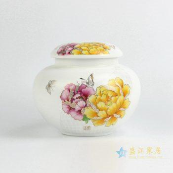CBAD10    景德镇  国色天香 牡丹蝴蝶    茶叶罐     储物罐    亚光陶瓷罐