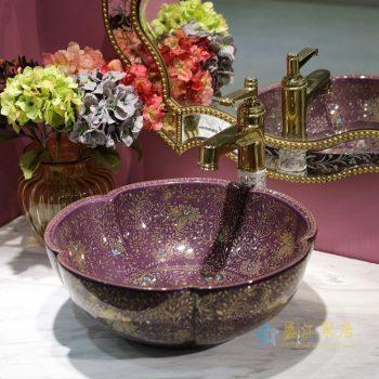 LT-1607-05   景德镇  紫色金波西米亚   洗脸盆 台上盆 陶瓷盆 厂家直销