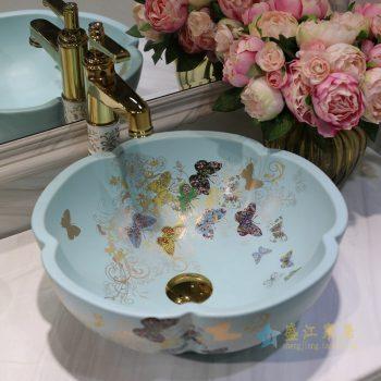 LT-1607-07  景德镇 哑光绿金蝴蝶花园    洗脸盆 台上盆 陶瓷盆 厂家直销
