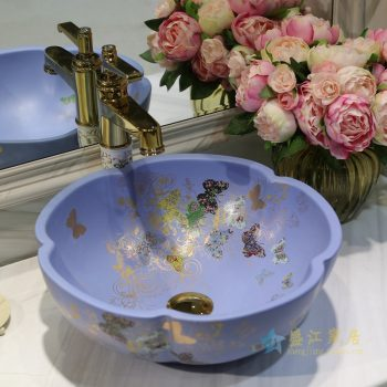 LT-1607-09   景德镇  哑光蓝金蝴蝶花园   洗脸盆 台上盆 陶瓷盆 厂家直销