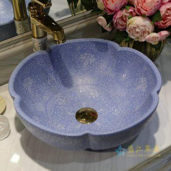 LT-1607-10   景德镇  哑光蓝堆白波西米亚  洗脸盆  台上盆   陶瓷盆   厂家直销