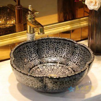 LT-1607-19   景德镇   全黑银阿拉丁   台上盆 洗手盆 陶瓷盆 特价促销