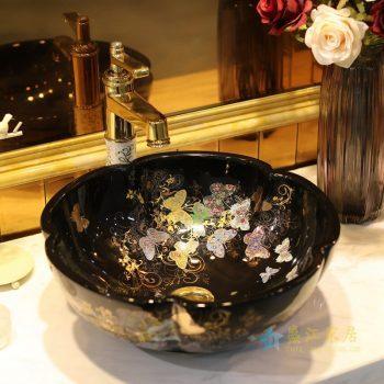 LT-1607-20    景德镇   全黑金蝴蝶花园   台上盆 洗手盆 陶瓷盆 特价促销