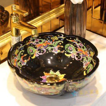 LT-1607-23    景德镇  全黑彩色金凤尾   台上盆 洗手盆 陶瓷盆 特价促销