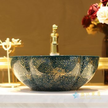 LT-1607-28    景德镇 孔雀绿金波西米亚   洗脸盆 台上盆 陶瓷盆 厂家直销