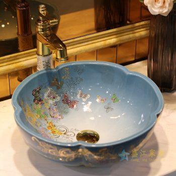LT-1607-30 景德镇 渐变金蝴蝶花园 洗脸盆 台上盆 陶瓷盆 厂家直销