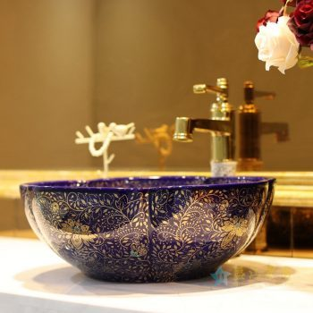 LT-1607-31  景德镇  季蓝色金波西米亚   洗脸盆 台上盆 陶瓷盆 厂家直销