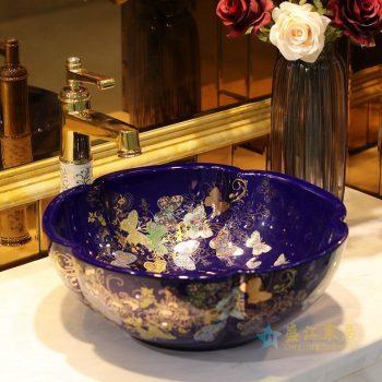 LT-1607-32   景德镇  季蓝金蝴蝶花园  洗脸盆 台上盆 陶瓷盆 厂家直销