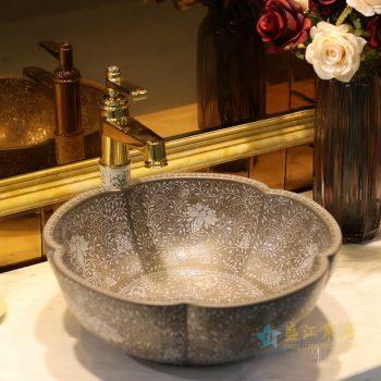 LT-1607-36    景德镇   灰釉堆白波西米亚     洗脸盆 台上盆 陶瓷盆 厂家直销