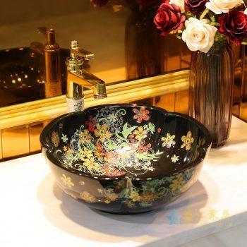 LT-1607-37   景德镇  红金花全黑    洗脸盆 台上盆 陶瓷盆 厂家直销