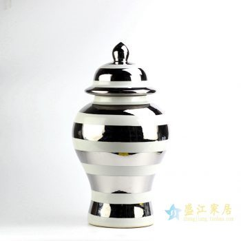 RYRJ16   景德镇   白底镀银 将军罐   花瓶储物罐   摆件品