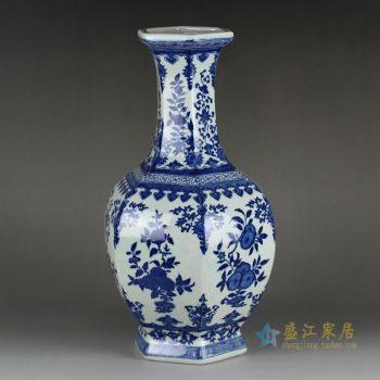 RYTM56-2     景德镇   青花多边形花瓶  仿古  花插摆件品  厂家直销