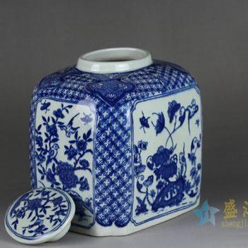 RYTM62-5   景德镇   青花花鸟方形 茶叶罐     储物罐     厂家直销