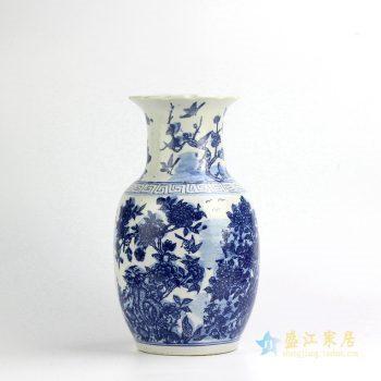 RYUV09-B 景德镇 花鸟 仿古 青花 冬瓜瓶 花瓶 艺术摆件品
