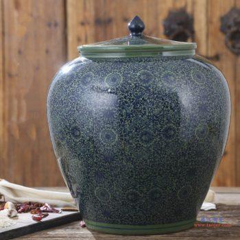 RZAP04-A   绿色缠枝景德镇青花瓷陶瓷米缸油缸20斤  50斤  100斤带盖水缸米桶泡菜缸防潮  西瓜缸