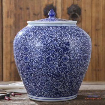 RZAP04-B 青花缠枝串之莲景德镇青花瓷陶瓷米缸油缸 20斤 50斤 100斤带盖水缸米桶泡菜缸防潮 西瓜缸