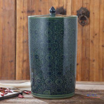 RZAP05-A   绿色缠枝景德镇青花瓷陶瓷米缸油缸  20斤  50斤  带盖水缸米桶泡菜缸防潮   直筒型