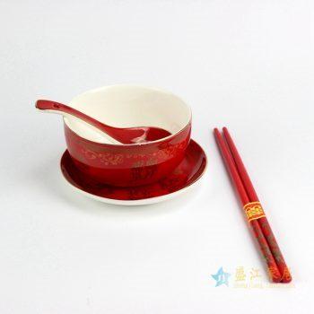 RZIM01_2768   景德镇 婚庆陶瓷 夫妻 结婚礼品 龙凤呈祥 结婚婚庆碗 碟 勺 餐具8件套(1碗2勺2碟2筷子)