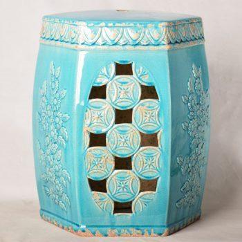 XY16-0709-6 (65)     景德镇 镂空多边形中高温陶瓷凳鼓凳瓷墩室内外客厅卧室洗手间