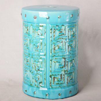 XY16-0709-6 (83)    景德镇 色釉玻璃蓝做旧仿古新简约现代欧式陶瓷凳 凉墩厂家直销