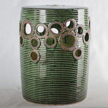 XY16-0709-7 (110)    景德镇  深绿色中高温破坏仿古做旧古典镂空中高温陶瓷凳简约美式厂家直销