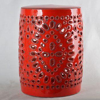 XY16-0709-7 (112)      景德镇 红釉镂空做旧中高温陶瓷凳鼓凳瓷墩室内外客厅卧室洗手间