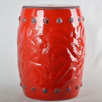 XY16-0709-7 (114)   景德镇 红釉做旧中高温陶瓷凳鼓凳瓷墩室内外客厅卧室洗手间