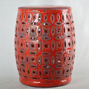 XY16-0709-7 (123)    景德镇 镂空红釉做旧中高温陶瓷凳鼓凳瓷墩室内外客厅卧室洗手间