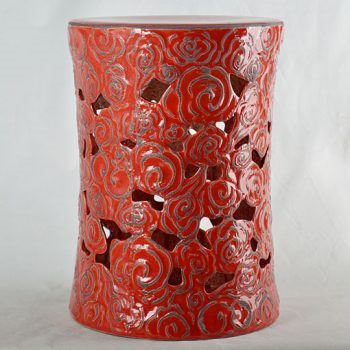 XY16-0709-7 (125)    景德镇 镂空红釉花朵中高温陶瓷凳鼓凳瓷墩室内外客厅卧室洗手间