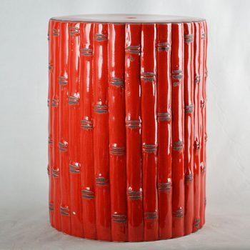 XY16-0709-7 (129)  景德镇 红釉竹子形状专业中高温陶瓷凳厂家直销