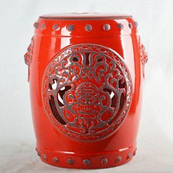 XY16-0709-7 (132) 景德镇 美式中国红镂空做旧效果仿古破坏中高温色釉陶瓷凳子瓷墩厂家直销