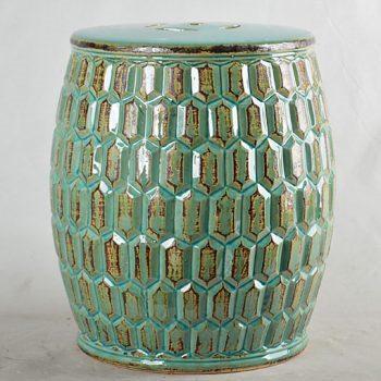 XY16-0709-7 (142) 景德镇 绿色釉中高温陶瓷古典现代美式欧式做旧仿古陶瓷凳厂家直销