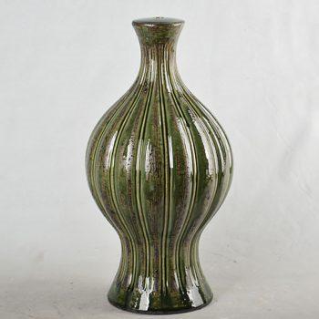 XY16-0709-7 (148)    景德镇   绿色做旧 条纹 陶瓷台灯底座 艺术摆件品