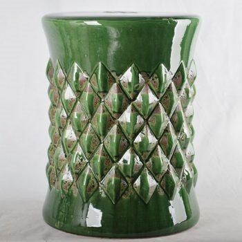XY16-0709-7 (17)    景德镇 绿色棱形 做旧  陶瓷古椅/陶瓷凳/陶瓷摆件