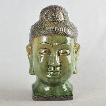 XY16-0709-7 (2)         景德镇  雕刻颜色釉  佛头摆设品   艺术品