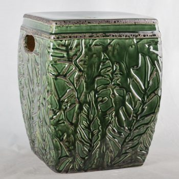 XY16-0709-7 (27) 景德镇 绿色花朵方形中高温破坏仿古做旧古典中高温陶瓷凳简约美式厂家直销