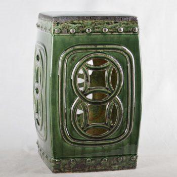 XY16-0709-7 (58)     景德镇 绿色镂空方形中高温破坏仿古做旧古典中高温陶瓷凳简约美式厂家直销