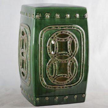 XY16-0709-7 (72)    景德镇 深绿色镂空方形中高温破坏仿古做旧古典中高温陶瓷凳简约美式厂家直销