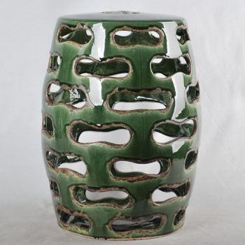 XY16-0709-7 (79)    景德镇 深绿色镂空中高温破坏仿古做旧古典中高温陶瓷凳简约美式厂家直销