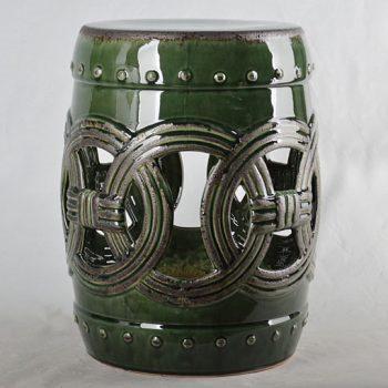 XY16-0709-7 (82)   景德镇 深绿色镂空中高温破坏仿古做旧古典中高温陶瓷凳简约美式厂家直销