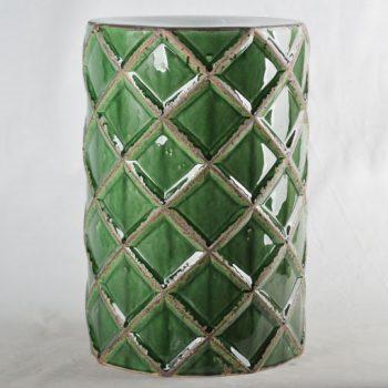 XY16-0709-7 (89)   景德镇 深绿色菱形中高温破坏仿古做旧古典中高温陶瓷凳简约美式厂家直销