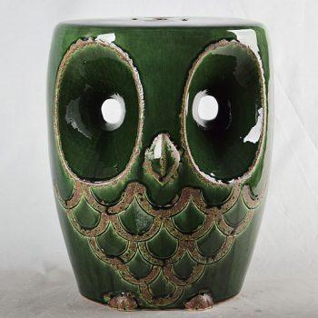 XY16-0709-7 (90)   景德镇 深绿色猫头鹰中高温破坏仿古做旧古典中高温陶瓷凳简约美式厂家直销