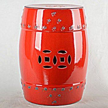 XY16-0709-9 (13) 中国红 铜钱镂空做旧效果仿古破坏中高温色釉陶瓷凳子瓷墩厂家直销