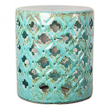 XY16-0709-a 景德镇 镂空圆形瓷墩中高温色釉陶瓷凳室内室外摆设