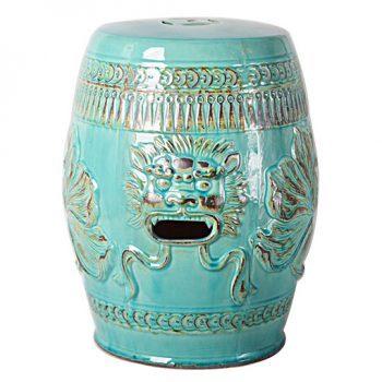 XY16-0709-d 景德镇  釉中高温陶瓷镂空狮子头古典现代美式欧式做旧仿古陶瓷凳厂家直销