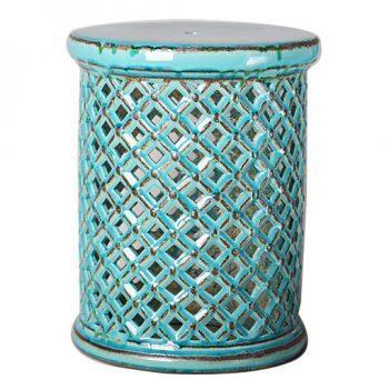 XY16-0709-gf   景德镇  中高温破坏仿古做旧古典镂空陶瓷凳简约美式厂家直销