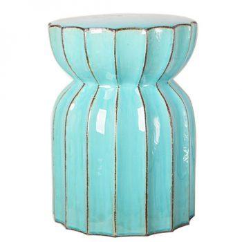 XY16-0709-nm   景德镇   莲花多角兰色出口品质中高温色釉陶瓷凳花园凳厂家直销