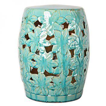 XY16-0709-q 景德镇 蓝色釉中高温陶瓷花朵镂空古典现代美式欧式做旧仿古陶瓷凳厂家直销